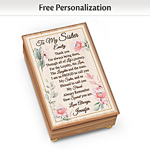 """""""To My Sister"""" Wooden Music Box Personalized With 2 Names"""