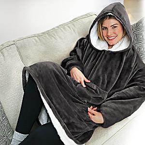 Oversized Reversible Blanket Sweatshirt With Hood