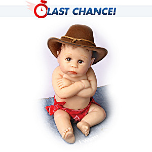 Cowboy Miniature Baby Doll With Free Blanket