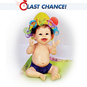 Smiling Miniature Baby Doll With Circus Hat And Blanket