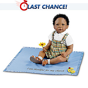 African-American Baby Boy Doll With Musical Blanket