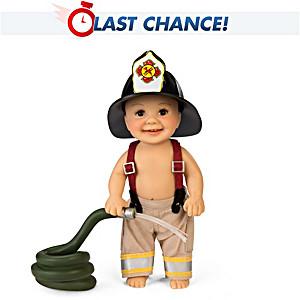 "Cheryl Hill ""Fire Hydrant Fun"" Miniature Fireman Baby Doll"