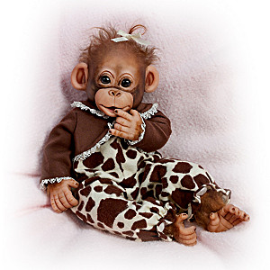 """Little Enu"" Charitable Baby Monkey Doll By Cindy Sales"