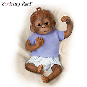 """Jo Jo"" Poseable Lifelike Baby Monkey Doll By Linda Murray"