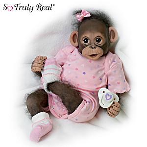 """Baby Zoey"" Poseable Newborn Monkey Doll"