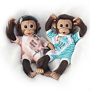 """Buy One, Get One Free"" Poseable Monkey Doll Set"