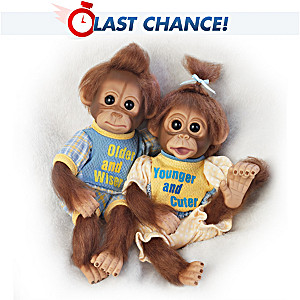 """Older Wiser, Younger Cuter"" Poseable Monkey Doll Set"