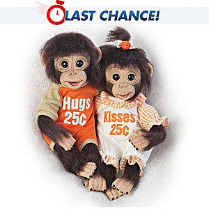 """Hugs And Kisses"" Poseable Monkey Doll Set"
