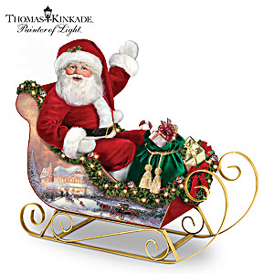 Thomas Kinkade Poseable Santa And Illuminated Sleigh