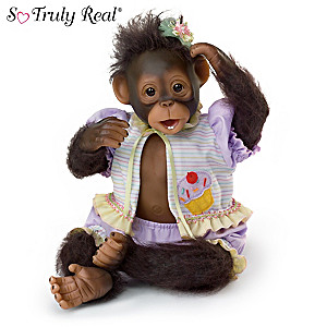 """Cindy Sales """"Cute As A Cup Cake"""" Poseable Monkey Doll"""