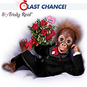"So Truly Real ""Wild About You"" Monkey Doll With Rose Bouquet"