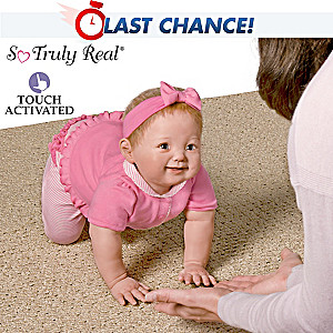 Ping Lau Touch-Activated Lifelike Crawling Baby Girl Doll