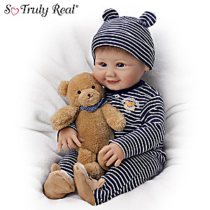 """Sherry Miller """"Momma's Little Cub"""" Baby Doll With Teddy Bear"""