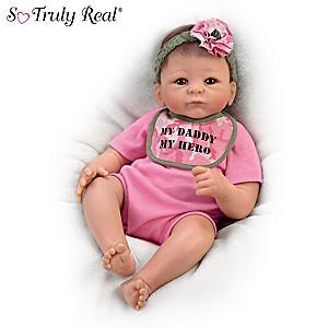 "Tasha Edenholm ""My Daddy, My Hero"" Baby Doll With Camo Bib"