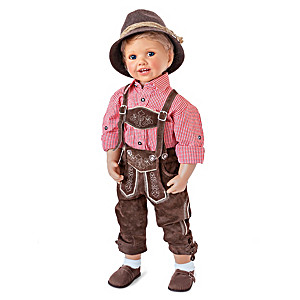 Monika Peter Poseable Boy Doll In Bavarian-Style Outfit