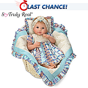 "Linda Murray ""Delilah"" Lifelike Baby Doll With Moses Basket"
