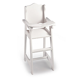 Classic White High Chair Baby Doll Furniture Accessory