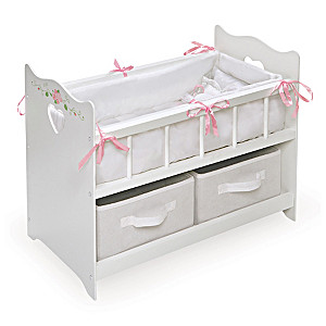 Baby Doll Crib With Pillow Set And Removable Baskets