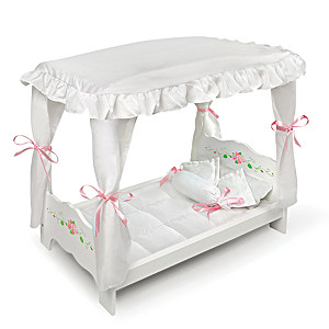 """White Rose"" Canopy Bed With Accessories For 20"" Dolls"