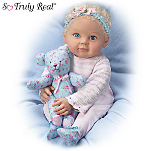 P. Lau Lauren Baby Doll With Coordinating Floral Bear