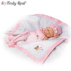 Lullaby and Good Night Vinyl Baby Doll With Musical Blanket