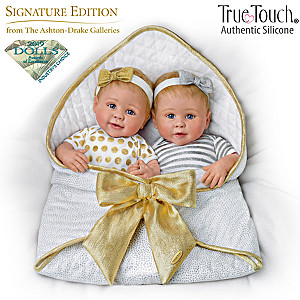 TrueTouch Silicone Twin Baby Dolls With Custom Bunting