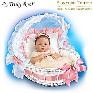 Bella Rose Baby Doll In Her Royal Bassinet By Linda Murray