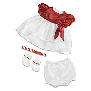 "Candy Cane Christmas Baby Doll Outfit For 20-22"" Dolls"