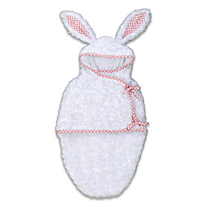 """White Bunny"" Hooded Fleece Bunting For Baby Dolls Up To 22"""