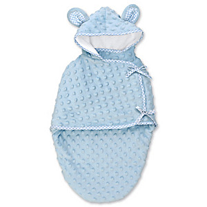 """Blue Bear"" Hooded Fleece Bunting For Baby Dolls Up To 22"""
