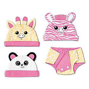 3 Animal Hats And 1 Diaper Cover Accessory Set For Baby Doll
