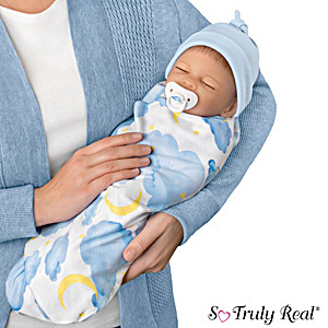 "Boy Baby Doll ""Ethan"" With Swaddle & Hat By Waltraud Hanl"