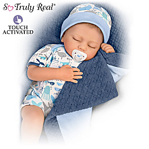 """Breathing"" Baby Boy Doll With Quilted Blanket And Pacifier"