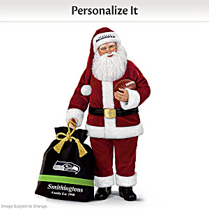Seahawks Santa With His Bag Personalized With Your Name