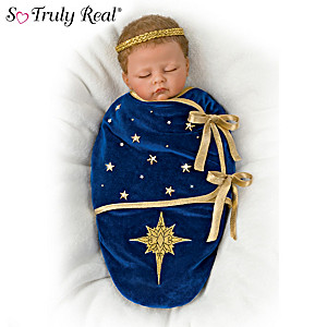"""""""Glory To The Newborn King"""" Doll With Nativity Art Bunting"""