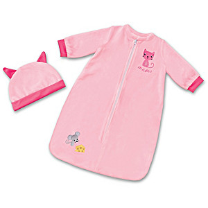 "Cat & Mouse Sleep Sack And Cap For Baby Dolls 17"" - 19"" Long"