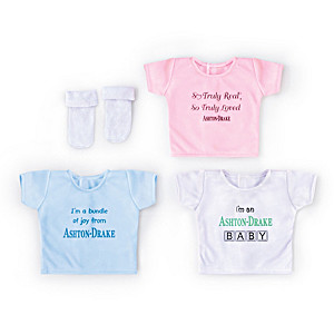 "Set Of 3 Shirts And A Pair Of Socks For 17"" - 19"" Baby Dolls"