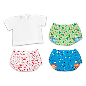 Reversible Seasonal Baby Doll Diaper Covers & Tee-Shirt Set