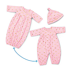 """""""Nap And Play"""" 2-In-1 Convertible Baby Doll Outfit And Cap"""