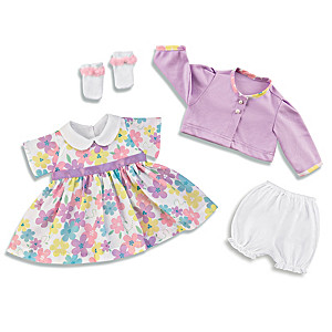 """""""Cute And Classic"""" 4-Piece Baby Girl Doll Outfit Set"""
