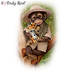 """Milo"" The Safari Monkey Doll With A Leopard Plush Animal"