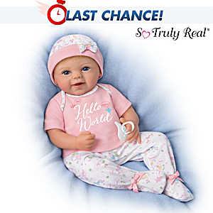 """Hello World!"" Lifelike Baby Doll With Magnetic Pacifier"