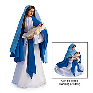 Virgin Mary Poseable Portrait Doll With Baby Jesus