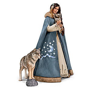 Maiden Portrait Doll With 2 Wolf Figures And Cape Lights Up