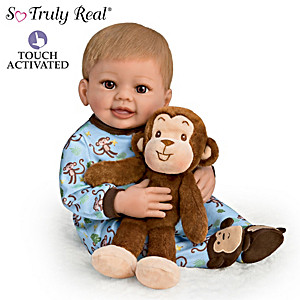 """""""Mason And Mo"""" Touch-Activated Baby Doll & Plush Monkey Set"""