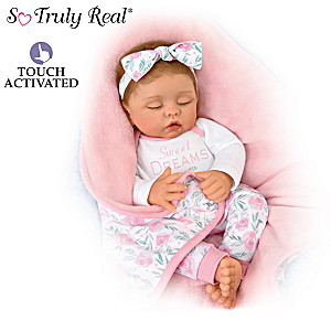 "Linda Murray Baby Doll With ""Heartbeat"" And Bunting"