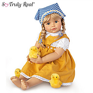 "Monika Gerdes ""Emma With Chicks"" Child Doll And Plush Chicks"