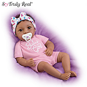 """Little Baby Girl"" Vinyl Doll With Magnetic Pacifier"