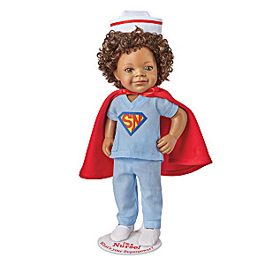 """I'm A Nurse! What's Your Superpower?"" Child Doll With Stand"