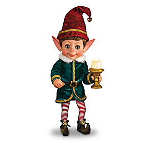 Charlie The Christmas Elf Doll With An Illuminating Candle